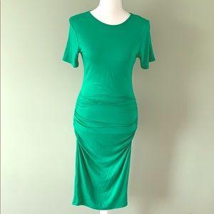 Green scrunch T-shirt dress